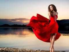 платье, ветер, девушка
