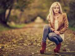 осень, девушка, фото