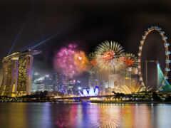 singapore, город, fireworks