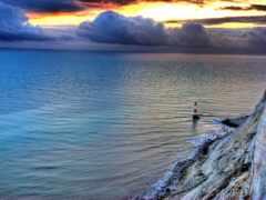 lighthouse, закат, rock