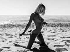 девушка, грудь, пляж