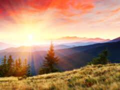 рассвет, гора, funart