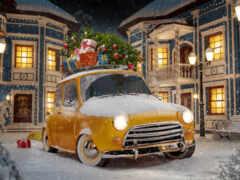 renault, car, winter
