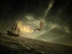 fantasy, дракон, море