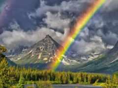 радуга, горы, озеро Фон № 135211 разрешение 1920x1200