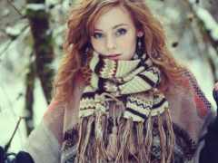 шарф, девушка, devushki