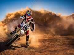 мотоцикл, пустыня, пыль