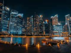 singapore, ночь, город