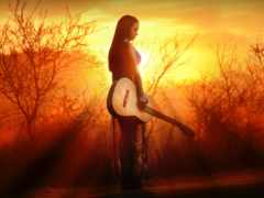 guitarra, музыка, chica