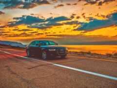 дорога, закат, авто