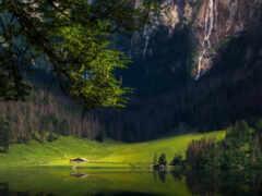 гора, природа, озеро