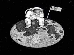 астронавт, рисованный, art