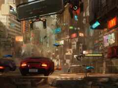город, cyberpunk, будущее