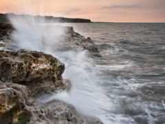 rocks, волна, crashing