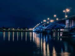 ночь, мост, город