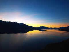 гора, закат, озеро