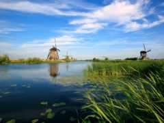 мельницы, река, ветряные