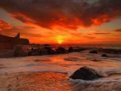 море, закат, red
