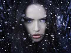 девушка, darkness, снежинка
