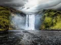 водопад, iceland, скоугафосс