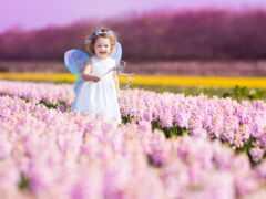 цветы, ребенок, природа