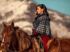 лошадь, девушка, гора