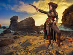 девушка, пиратка, оружие