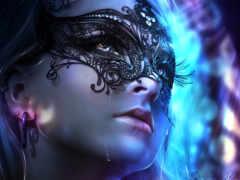 девушка, маске, грустные