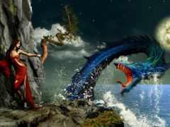 дракон, море, нападает