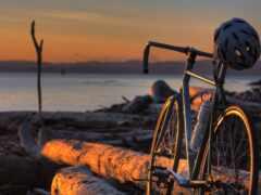 велосипед, побережье, log