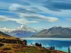 pukaki, озеро, горы