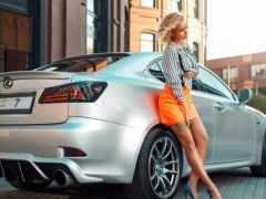 девушка, авто, лексус
