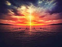 закат, rising, небо