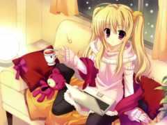 anime, blonde, blondýnka