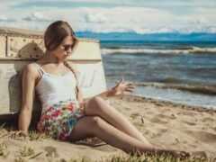 пляж, девушка, sit