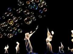 bubble, огонь, black