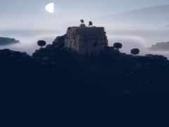 , , небо, свет замок