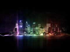 город, ночное, радуга
