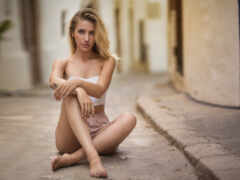 обнаженная, девушка, barefoot