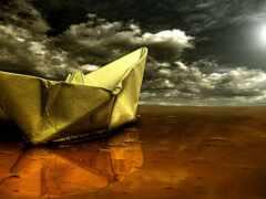 корабль, бумага, rendering