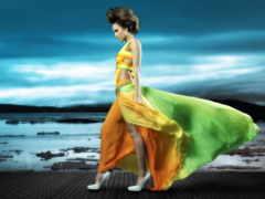 платье, девушка, разноцветное