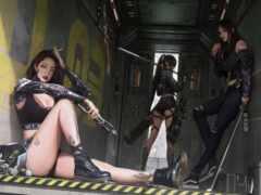 cyberpunk, девушки,