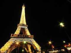 башня, ночь, париж