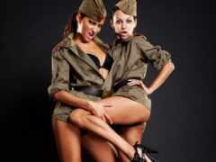 форме, девушка, военной