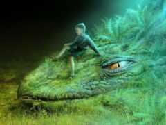 дракон, зелёный, картинка