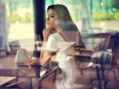 glass, кафе, девушка