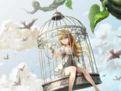 клеточка, anim, птица