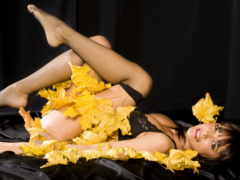 листья, люди, девушка
