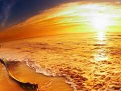 пляж, закат, море