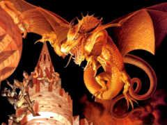 дракон, огонь, большой